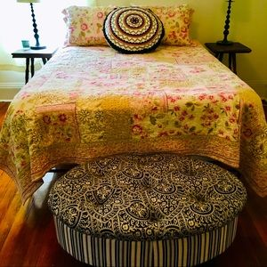 Vintage Quilt Queen Set Rose Pink Shabby Chic